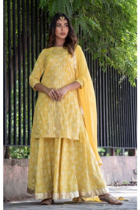 YELLOW GOTA KURTA AND SKIRT WITH DUPATTA