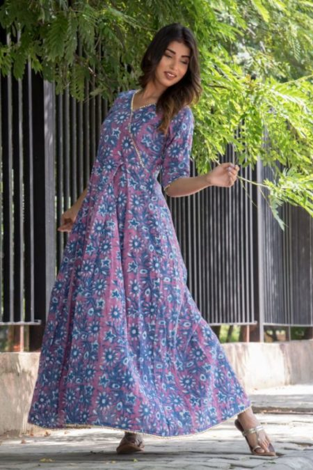 INDIGO BLUE GOTA FLOOR LENGTH DRESS