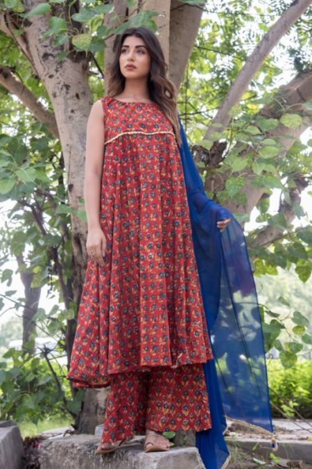 RED MARRON FLARED DRESS WITH PALAZZO WITH BLUE DUPATTA