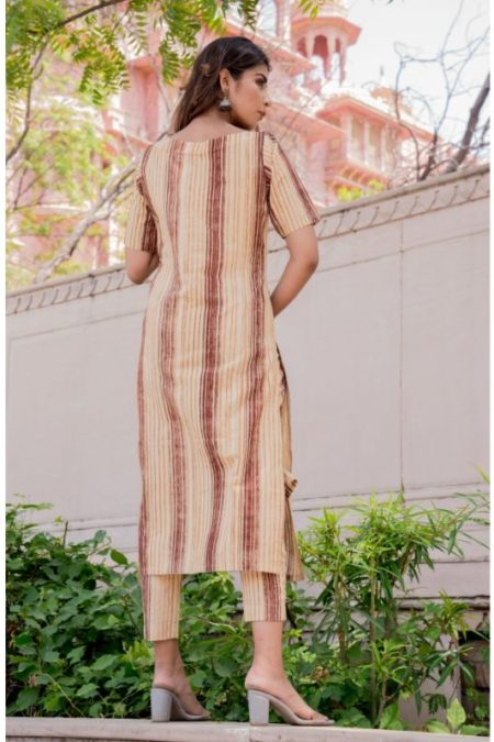 BROWN STRIPED KURTA PANT SET