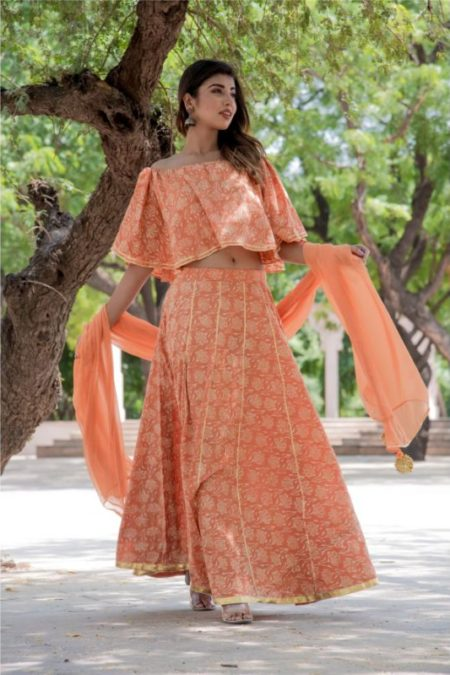 ORANGE LOTUS PRINT OFF SHOULDER TOP WITH GOTA SKIRT SET