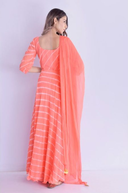 Peach Angrakha Anarkali with Dupatta