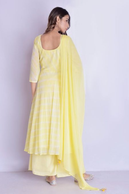 Yellow angrakha leheriya anarkali palazzo set