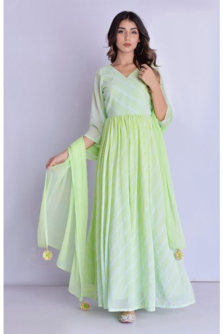 Lime Green Leheriya Angrakha Dress with Dupatta