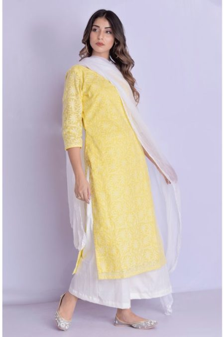Yellow Chikan Straight Kurta Palazzo With Dupatta