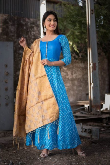 Blue Bandhani Anarkali with Golden Dupatta