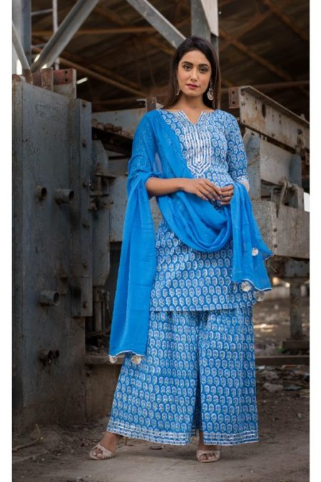 BLUE SHARARA SET WITH DUPATTA