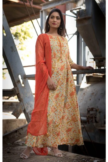 ORANGE BLOCK PRINT DRESS WITH DUPATTA