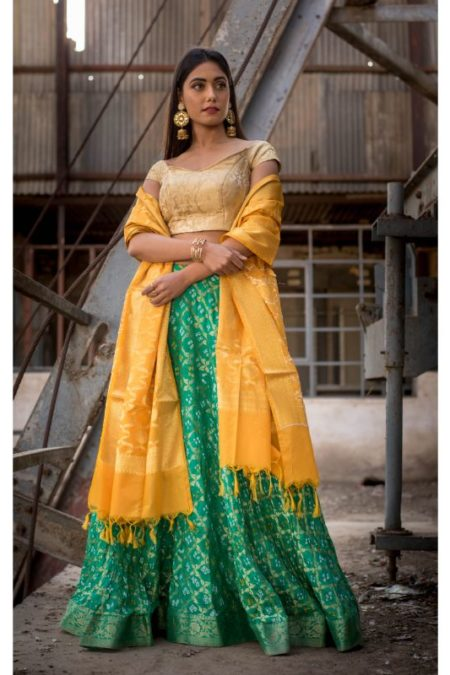 GREEN FULL FLARED LEHENGA WITH BLOUSE AND DUPATTA