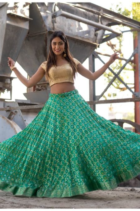 GREEN FULL FLARED LEHENGA WITH OFF SHOULDER BLOUSE