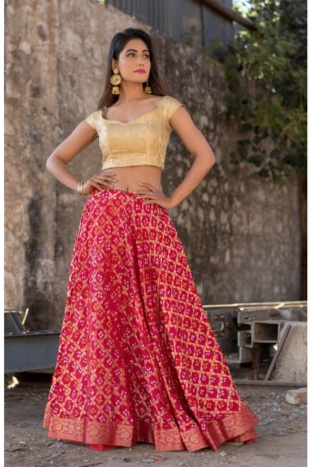 RED ZARI WEAVE LEHENGA WITH BLOUSE