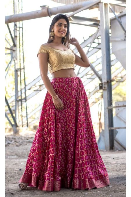 MAGENTA ART SILK LEHENGA WITH BLOUSE