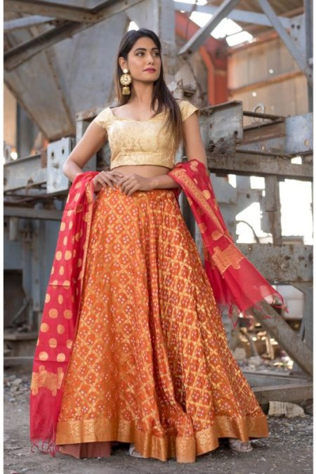 ORANGE ART SILK LEHENGA WITH BLOUSE AND DUPATTA