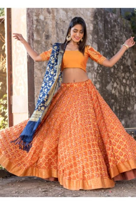 ORANGE BLOUSE WITH BLOUSE AND BLUE DUPATTA SET