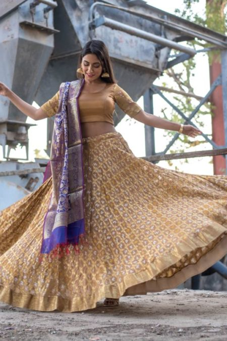 GOLDEN BEIGE LEHENGA WITH PURPLE BANARASI DUPATTA