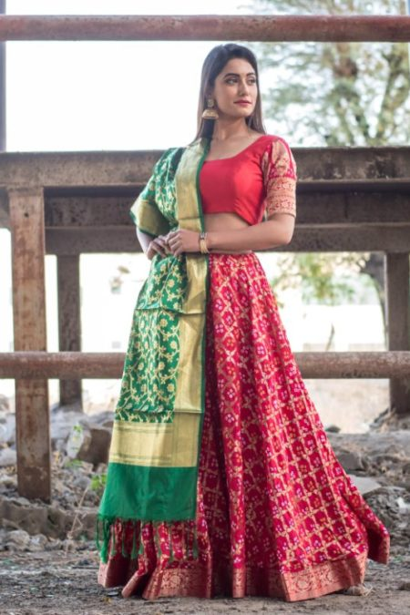 RED LEHENGA WITH BLOUSE AND DUPATTA