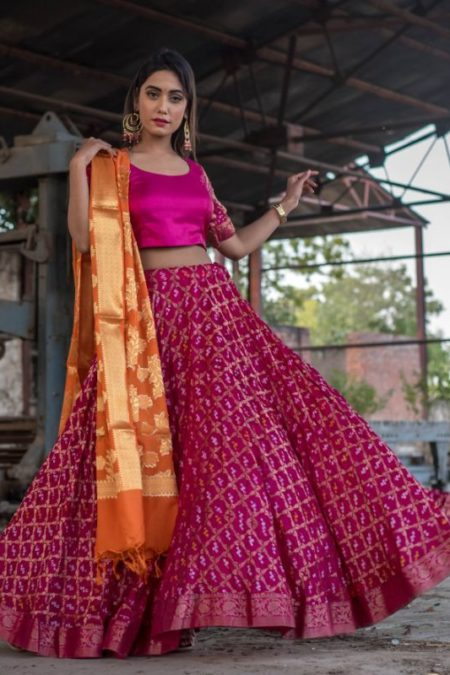 Magenta Art Silk Lehenga Set With Orange Banarasi Dupatta