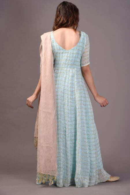 Powder Blue Anarkali with Churidar and Dupatta set