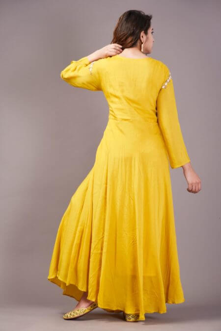 Yellow white embroidered flared dress