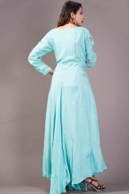 Aqua asymmetrical flared long dress