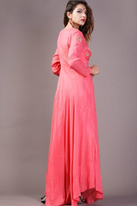 Coral Pink Asymmerical Flared Dress