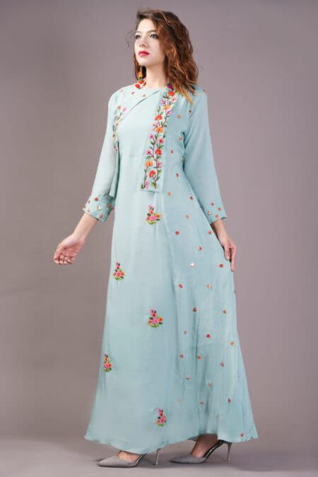 Sky Blue Dress with attached Cape