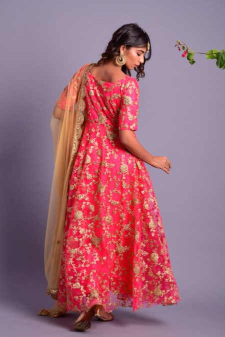 Pink Embroidered Flared Anarkali with Golden Dupatta