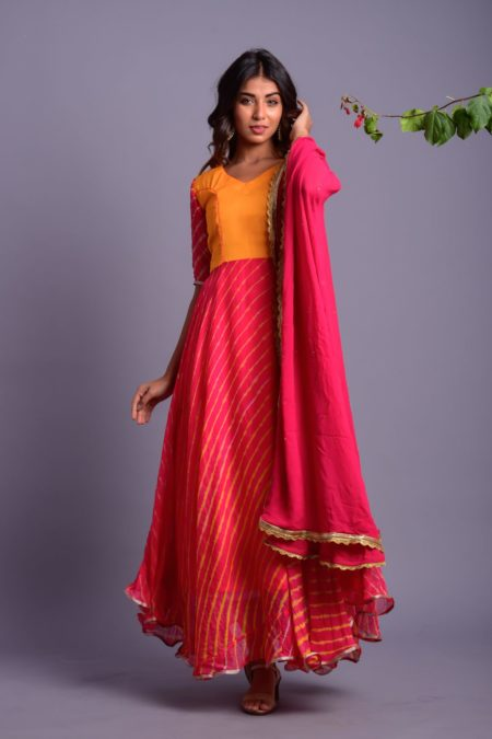 PINK AND YELLOW STRIPED ANARKALI WITH DUPATTA