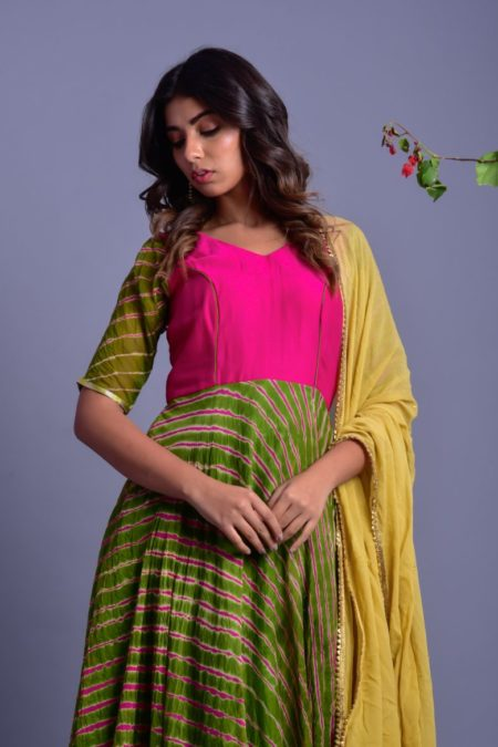MEGENTA MGREEN STRIPED ANARKALI WITH DUPATTA