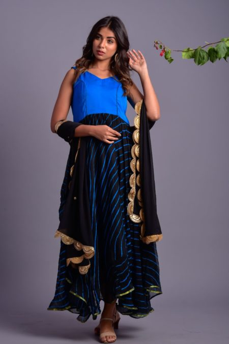 BLACK & BLUE STRIPED ANARKALI WITH DUPATTA