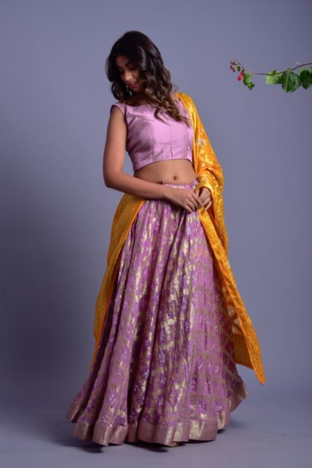 LAVENDER LEHENGA SET WITH YELLOW DUPATTA