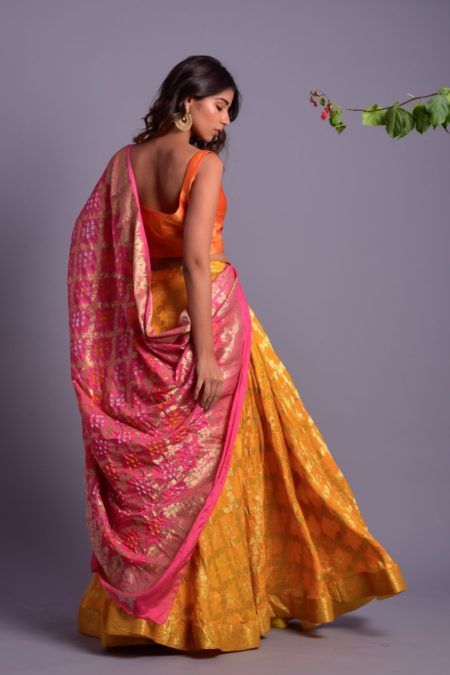 Yellow Full Flared Lehenga Set with Pink Dupatta