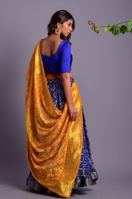 Blue Flared Lehenga with Yellow Dupatta