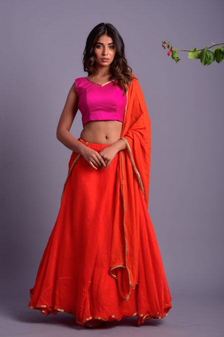 Orange Leheriya Lehenga Set with Magenta Blouse