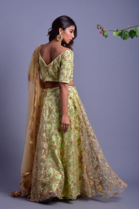 Pista Green net Lehenga set with golden blouse