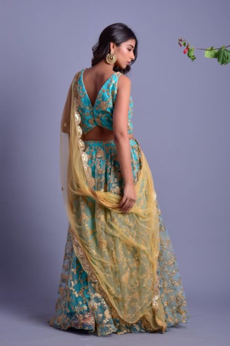 AQUA BLUE LEHENGA SET WITH GOLDEN DUPATTA