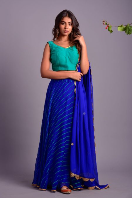 ROYALE BLUE LEHERIYA LEHENGA SET