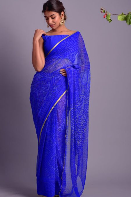 ROYAL BLUE BANDHEJ PRINTED SAREE WITH STITCHED BLOUSE