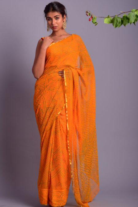 YELLOW BANDHANI PRINTED SAREE WITH STITCHED BLOUSE