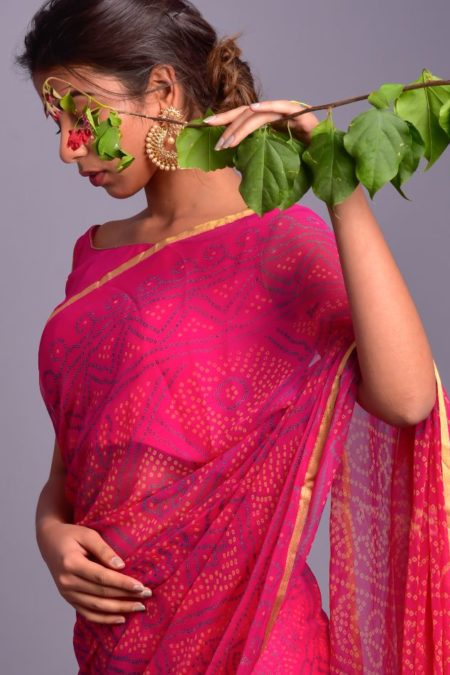 CHIFFON SAREE WITH STITCHED BLOUSE