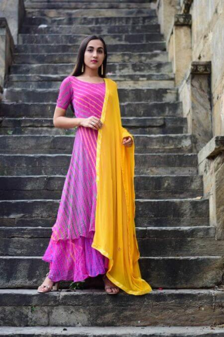 Magenta Purple Double Layererd Anarkali with Yellow Dupatta