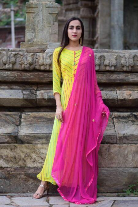 Yellow Leheriya Anarkali with Magenta Dupatta