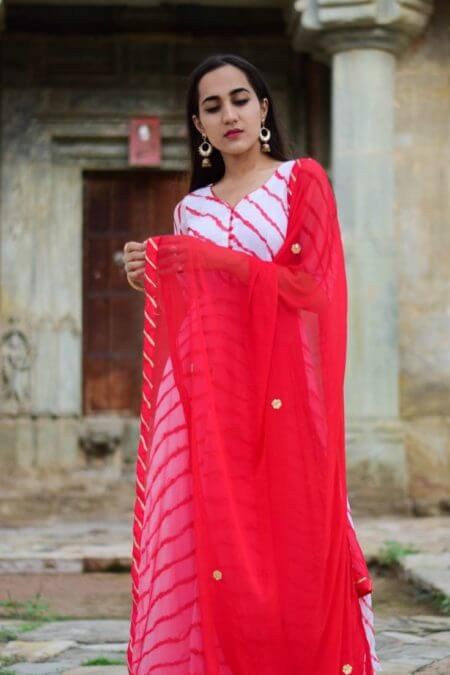 White Red Lehriya Anarkali with Red Dupatta