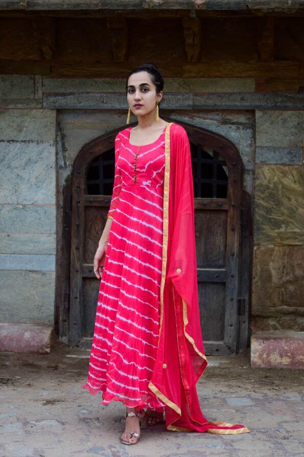 Crimson Red Leheriya Anarkali with Matching Dupatta