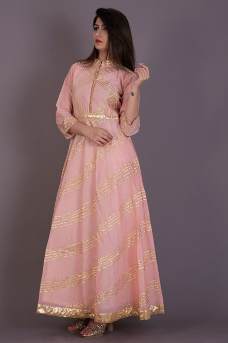 PEACH FLARED ANARKALI DRESS