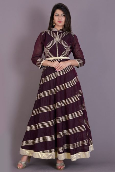 WINE FLARED ANARKALI GOTA DRESS