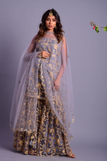 Grey Embroidered Gharara set