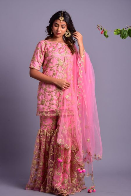Light pink kurta gharara set