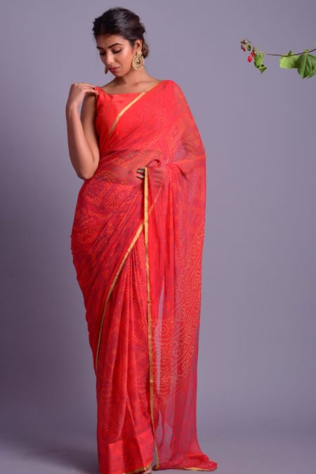RED CHIFFON SAREE WITH STITCHED BLOUSE