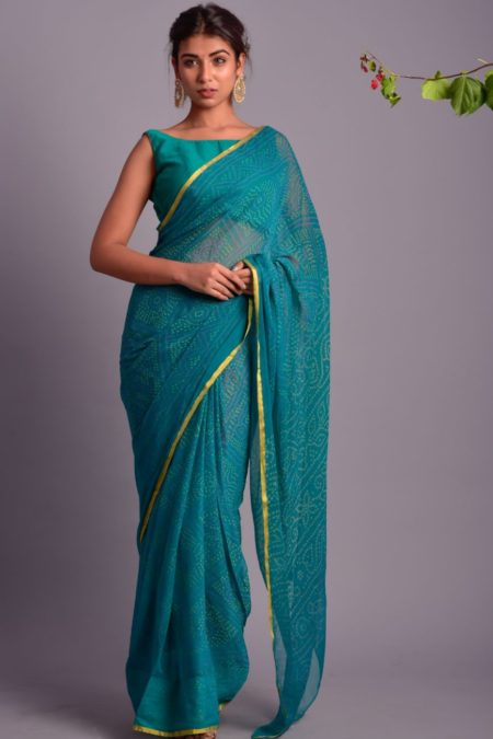 TEAL PRINTED SAREE WITH STITCHED BLOUSE